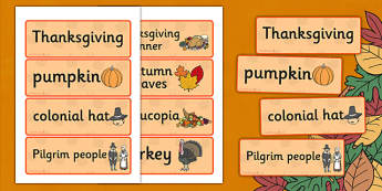 Thanksgiving Word Cards - visual, aids, harvest, words, thanks