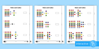 Year 2 Maths Homework Rods and Cubes Homework Go Respond Activity Sheet - year 2, maths, homework, addition, subtraction, place value, tens, ones, adding, diennes, worksheet