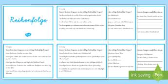 Übungen zum Leseverständnis Reihenfolge : DIN A4 Karteikarten - Leseverstehen, Lesen, logisches Denken,Sätze ordnen, Deutsch,,German