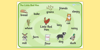 Little Red Hen Word Mat -  Little Red Hen, word mat, writing aid, Traditional tales, tale, fairy tale, little red hen, cat, dog, horse, grain, wheat, flour, bread, no I, I will