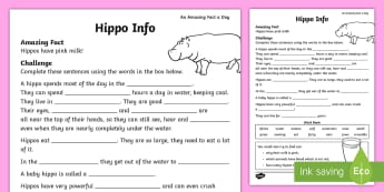 Hippo Info Activity Sheet - july amazing fact, animal, fact file, information, amazing fact, KS1, worksheet