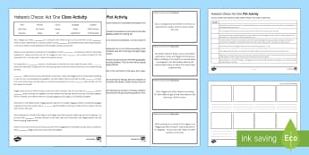 Hobson's Choice Plot Activity Pack - Hobson's Choice, plot summary, Henry Hobson, Maggie Hobson, Alice Hobson, Vickey Hobson, Tubby Wadl