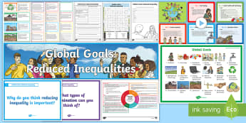 Global Goals Reduced Inequalities Second Level IDL and Resource Pack - Learning For Sustainability, UNICEF, GG10, Equality, Discrimination,Scottish