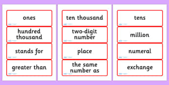 Year Five Numeracy Vocabulary Word Cards - Numbers and the Number System - word cards, numeracy words, numeracy vocabulary, word flash cards, key words