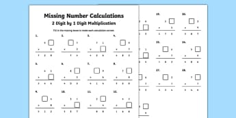 Missing Number Calculations 2 Digits by 1 Digit Multiplication Activity Sheet, worksheet
