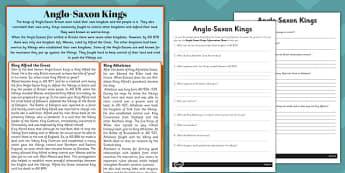 Anglo-Saxon Kings Reading Comprehension Activity - comprehension