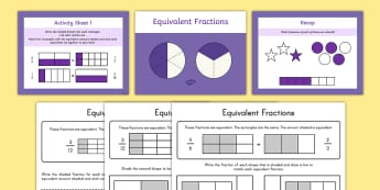 Fractions, activity sheets, math, powerpoint, equivalent - Fractions, activity sheets, math, powerpoint, equivalent