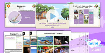 PlanIt - French Year 6 - Let's Visit a French Town Lesson 2: I Go to School to Learn Lesson Pack