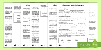 CfE First Level What Does a Firefighter Do? Cloze Passages Differentiated Activity Sheet - Cloze Reading, Literacy, Reading, People Who help Us, Firefighter, firemen, vocabulary, worksheet
