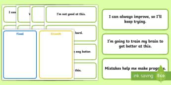 Growth Mind-set V Fixed Mind-set Sorting Activity - growth mind set, fixed mind set, sorting activity, sort, activity