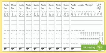 NZ Number Formation Worksheet - New Zealand Maths, number formation, number tracing, NZ Numbers, N.E maths activities, overwriting