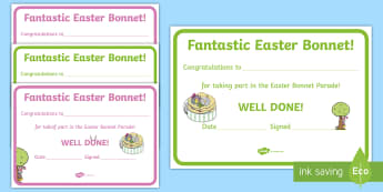 Easter Certificates Easter Bunny Certificate - easter, award, reward, certificate, certificates, Easter bonnet, Easter parade,