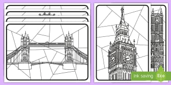 Whole-Class Large London Art Activity Sheets - worksheets, capital city, st paul's, the gherkin, london bridge, whole class, city, cities, UK