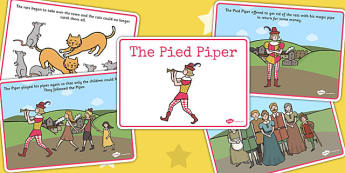 The Pied Piper Story Sequencing - Pied Piper, story, children, rats, Hamelin, pipes, sequencing, story sequencing, story resources, A4, cards, cats, cave, villagers, mountain, town, money, story book