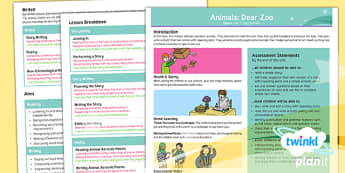Animals: Dear Zoo Y1 Overview To Support Teaching on 'Dear Zoo' - stories with repeating parts, mini topic, safari, whole class guided reading, minibeasts