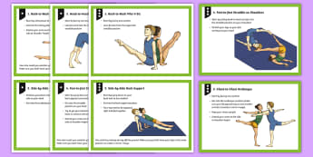 Paired Symmetrical Shapes Gymnastics Cards - Gymnastics, Shape, Y3, Y4, Y5, Y6, KS2, symmetry, symmetrical, body shapes, body positions, tuck, st