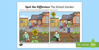 The School Garden Spot the Differences Activity Sheet - english, school, garden, oral Language, speaking, SLT, Speech, pair work, spot the differences,Irish