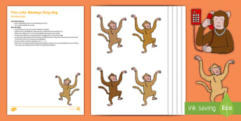 Five Little Monkeys Subtraction Busy Bag Resource Pack for Parents - monleys, bed, nursery rhymes, jumping, cut-outs, puppets, imaginary play, table activity, quiet time