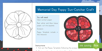 Memorial Day Poppy Sun Catcher Craft - Memorial Day, Memorial Day craft, Memorial Day sun catcher, poppy craft, poppy sun catcher craft,