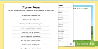 Jigsaw Poem Activity to Support Teaching on Leisure by W. H. Davies - CfE Literacy, reading comprehension strategies, poetry, jigsaw poems, poetry activities, Leisure by