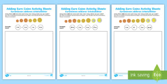 Adding Euro Coins Activity Sheet English/German - money, currency, Euros, EAL, German, English-German,,German-translation
