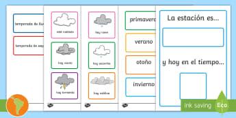 Postérs de exposición: Las estaciones y el tiempo - tiempo, clima, hace sol, hace calor, esta nublado, esta nevando, está nevando, español, spanish,