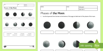 Phases of the Moon Homework Activity Sheet - Homework, phases of the moon, moon, phase, gibbous, crescent, waxing, waning, full moon, quarter moo