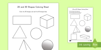 2D and 3D Shapes Coloring Activity - color, coloring, activity, shapes, 2D, 3D