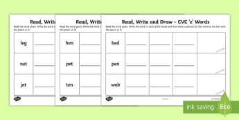 Read, Write and Draw CVC 'e' Words Activity Sheet - Phonics, Initial Sounds, Blending, Sounding Out, Assessment,Irish, Worksheet