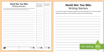 World War Two Blitz Writing Starters - world war two, ww2, world war II, world war 2, blitz story starters, the blitz, world war 2 blitz, blitz writing starters