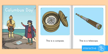 Columbus Day Emergent Reader eBook - christopher columbus, columbus day ebook, heritage, explorers, interactive,