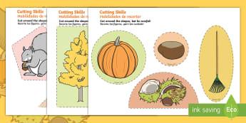 Autumn Themed Cutting Skills Activity Sheet English/Spanish - fine motor skill, season, autmn, autunm, atumn, finemotor, aurum, aurumn, autmn, activity sheet, EAL