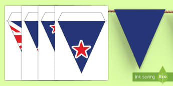 New Zealand Flag Display Bunting - New Zealand Social Sciences, NZ, Social Studies, bunting, flags, display