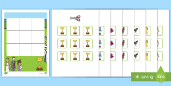Three in a Row Melbourne Cup Activity - EYLF, Foundation, Game, Numeracy, Problem Solving, Counting,  horse racing, trophy, jockey, race hor