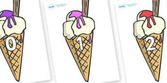 Numbers 0-50 on Ice Creams to Support Teaching on The Very Hungry Caterpillar - 0-50, foundation stage numeracy, Number recognition, Number flashcards, counting, number frieze, Display numbers, number posters