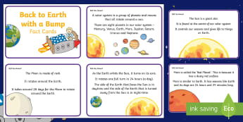 Back to Earth with a Bump Fact Cards - Twinkl originals, fiction, EYFS, KS1, Space, Information cards,