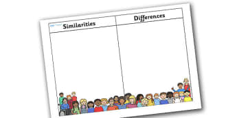 Similarities and Differences Table - similarities, differences, diversity, respect, understanding, acceptance, good behaviour, table, empathy, no bullying, pshe, bullying