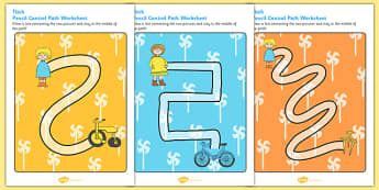 Pencil Control Path Worksheets to Support Teaching on Titch - fine motor skills, stories