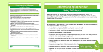 Understanding Behaviour: Being Self-Aware Adult Guidance - Behaviour, SEN, Functions of Behaviour, adult guidance, self help