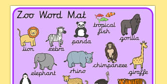Zoo Word Mat Cursive - zoo word mat, zoo words, zoo topic words, zoo key words, animal key words, animal topic words, zoo word list
