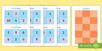 1 - 10 Bingo  - Maths display resources, IWB resources and worksheets for infants,Irish