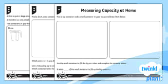 Measuring Capacity Home Learning Tasks - Measurement, measuring, home learning, homework, measure and record, capacity, non-standard units, s