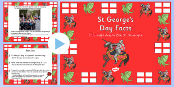 St George's Day Information PowerPoint Romanian Translation - romanian, st georges day, st georges day powerpoint, st georges day information, about st georges day, saint georges day