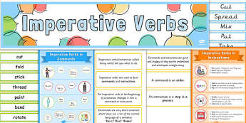Imperative Verbs Display Pack - imperative verbs, display, pack