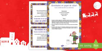 Escena matemática con el elfo navideño: ¡Enrollados en papel higiénico! - numeros, problemas matemáticos, navidad, navideño, Spanish
