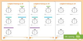 Differentiated Halving to 10 Ladybird Activity Sheet - Worksheet, KS1, doubling,half