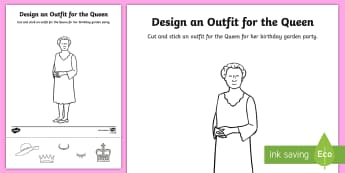 Cut and Stick Outfit for the Queen's Birthday Activity Sheet - the Queen, elizabeth ii, queen elizabeth ii, queens birthday, queens birthday activity, royal family