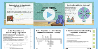 After, Before, Until, Since, As: Prepositions or Subordinating Conjunctions? Resource Pack - SPAG, grammar, subordinate clause, prepositional phrase, connectives, adverbials - SPAG, grammar, subordinate clause, prepositional phrase, connectives, adve