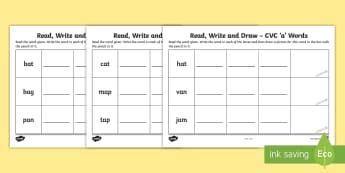 Read, Write and Draw CVC 'a' Words Activity Sheet - Phonics, Initial Sounds, Blending, Sounding Out, Assessment, Irish, Worksheet