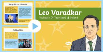Leo Varadkar Taoiseach Information PowerPoint - ireland, dail, fine Gael, Parliament, Prime Minister, Irish